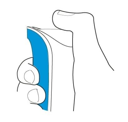 STAP 2: Druk het spuitbusje in met uw duim.