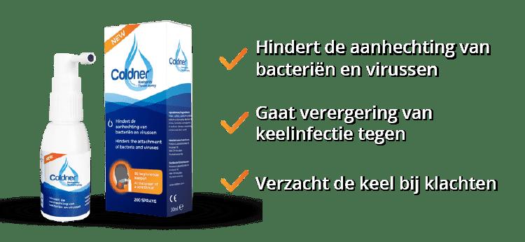 Coldner Keelspray voordelen: Hindert de aanhechting van bacteriën en virussen, gaat verergering van keelinfectie tegen en verzacht de keel bij klachten.